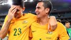 Australia's Tim Cahill (R) celebrates with Tomi Juric
