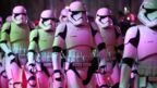 Actors dressed as storm troopers arrive for the premiere.