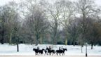 A group of horses and riders walk through a snow-covered Hyde Park