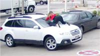 Melissa Smith was filling up her car when the thief jumped in her car and tried to drive away.