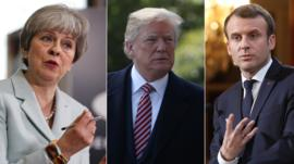 UK Prime Minister Theresa May, US President Donald Trump and French President Emmanuel Macron