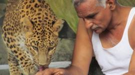 Prakash Amte with a leopard