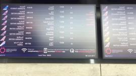 Departures board at Doha airport - 6 June 2017