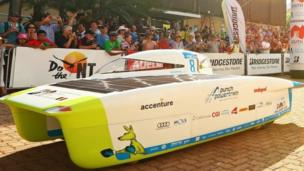 "The Punch Powertrain Solar Team vehicle ""Punch Two"" from Belgium leaves the start line in Darwin. Photo: 8 October 2017"