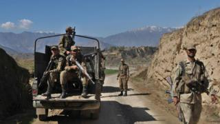 File photo of Pakistani soldiers in Damadola in the Bajaur tribal region on March 2, 2010.