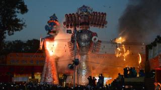 The burning of Ravana for Dussehra in Dehli, 2017