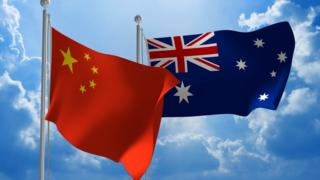 The flags of China and Australia